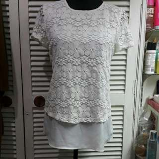 Promod Off White Layered Lace Top