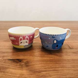 Kitty Cat and Bunny Porcelain Mugs