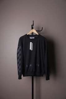 OFF WHITE Sweater Crewneck Tone On Tone Black Premium