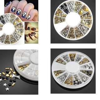 3Colors Rivet Nail Art Decoration Silver/Gold/black Rivet Metallic Studs Nail Art Decoration Round Wheel