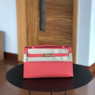 Hermes Mini Kelly Epsom T5 Rose Jaipur Ghw