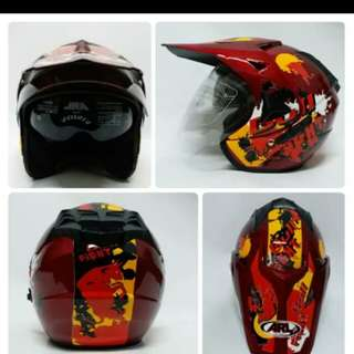 Helmet ARL semi cross double visor bull fight red