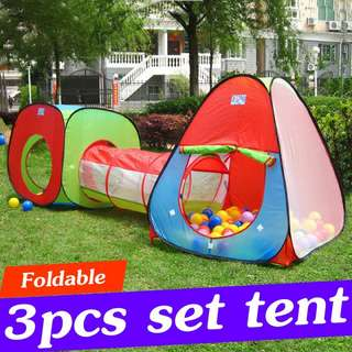 3 in 1 Kids Baby Toddler Tunnel Play House Tent Indoor Outdoor Cubby Playhouse