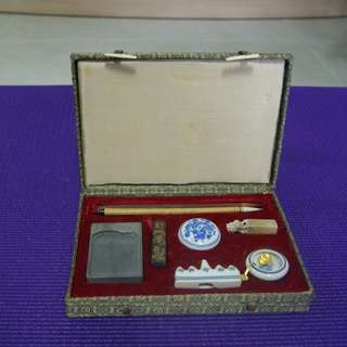 Chinese Caligrapphy Writing set complete with a Stone for a personal seal and seal ink