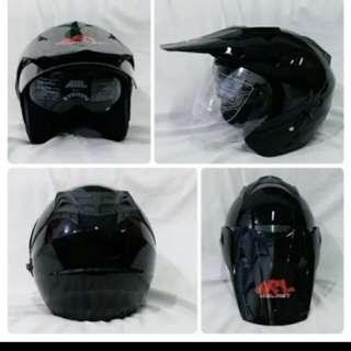 Helmet ARL semi cross double visor black gloss