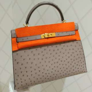 Hermes kelly 32 gris ostrich