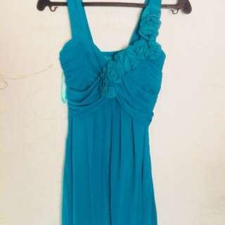 Blue green cocktail dress
