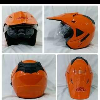 Helmet ARL semi cross double visor orange