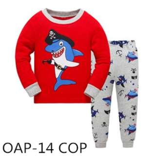 Pirate shark prints sleep wear set