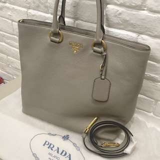 Prada Vitello Phenix Calf Leather Tote Bag 灰色牛皮手袋