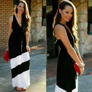 🍀Black and White Maxi dress