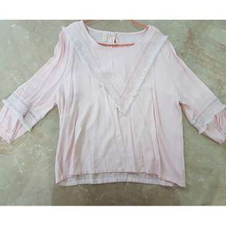 preloved plus size blouse light pink