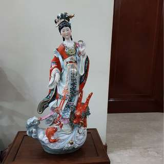 Chang Er the Goddess of the Moon With Dragon Statue