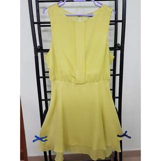 asos plus size preloved lime yellow pelplum dress with see through back