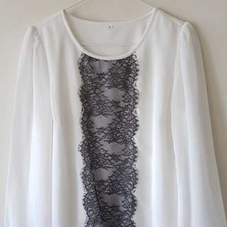 White Long Sleeve Top with Black Lace