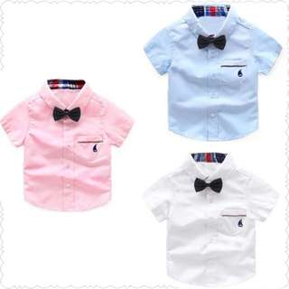 Toddler Boy Kids Smart Shirt with Bow Tie