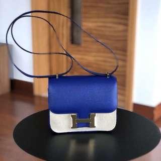 Hermes Mini Constance Ghw Epsom 7T Blue Electrique