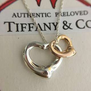 Excellent Authentic Tiffany & Co. Elsa Peretti Double Open Heart Silver x Rose Gold Necklace