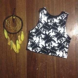Tropical Halter Crop Top