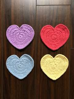 Crochet Heart Coaster