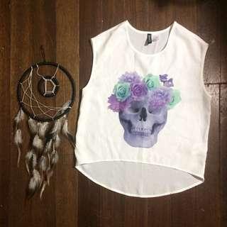 H&M White Sleeveless w/ Purple Skull