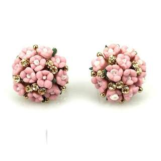 Flower Bouquet Stud Earrings in Pink