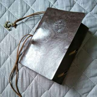 Leather blank writting notebook