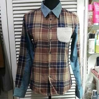 Plaid Denim Boyfriend Button Down With Knit Pocket