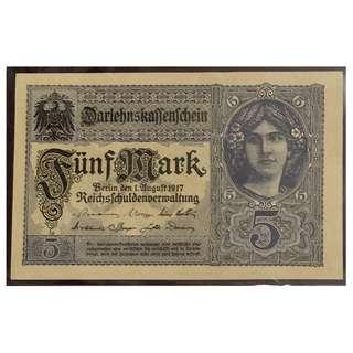 1917年德國5mark aUNC