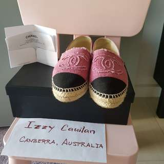 Chanel Pink Canvas Espadrilles size 36