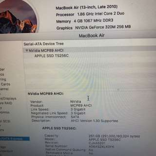 MACBOOK AIR 13吋 1.86GHz Core2Duo 2010-Mid 256GB SSD 非常新淨