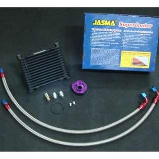 JASMA® VERSION 4  oil cooler kit with aluminum fitting  AN8  STANDARD TYPE, STACK PLATE  oil cooler 13 rows   black color   oil  cooler. model 34584