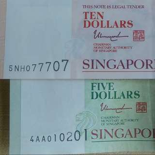 Singapore Banknotes No. 07 77 07 AND 01 02 01