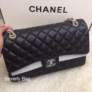 jual tas Chanel Classic Lambskin 30 LEATHER MIRROR - black GHW