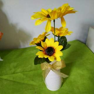 Artifical Sun Flower with small vase