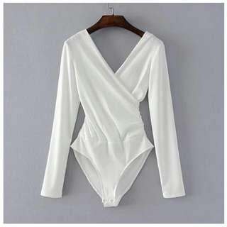 White Deep V-Neck Long-Sleeve Bodysuit