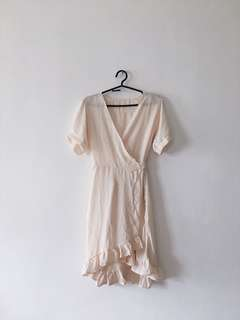 Nude Sheer Wrap-Around Dress