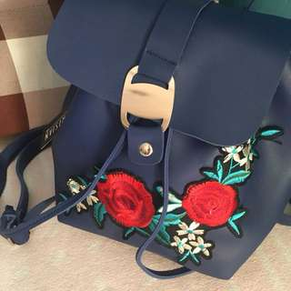Parisian bucket back pack with embroidery
