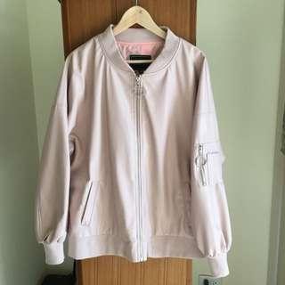 韓版粉色皮革寬鬆oversize棒球外套飛行外套 皮衣