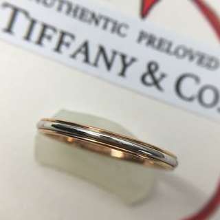 Mint Authentic Tiffany & Co Platinum Pt950 x Rose Gold Lucida Classic Band Ring