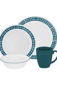 PROMO - PO - corelle dinnerware set 16pcs aqua tiles