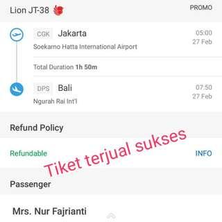 Testimoni Tiket Terjual Jakarta -Bali