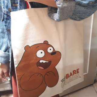 totebag we bare bears miniso