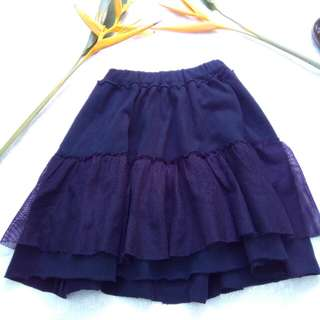 Two layers black skirt for young girl