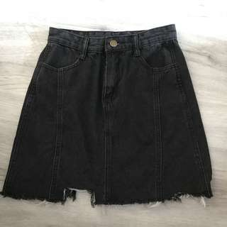 black denim high waisted skirt