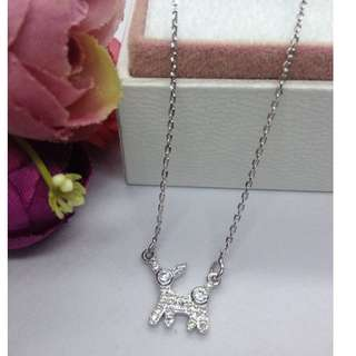 Authentic Bangkok Gold 10k Saudi Gold White Gold Adjustable Dog Puppy Centered Chain Necklace with Zirconia Stones  (Not Pawnable)