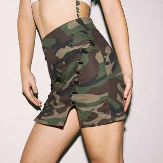 Camouflage Army Print Lace Up High Waist Bodycon Skirt