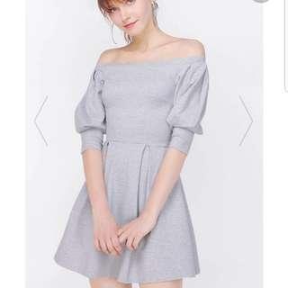 Fayth Tasmin Off Shoulder Dress In grey