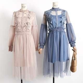🌟2018新款🌟high neck lace dress with tank top