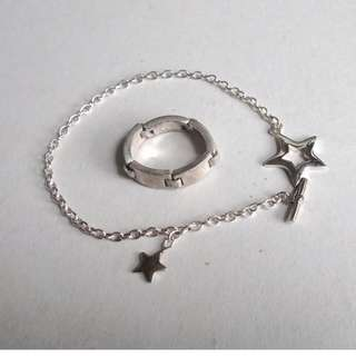 -勿壓價-ESPRIT 925 SILVER RING + 925 STAR CHARMS BRACLET,925銀介指+手鍊.不散散